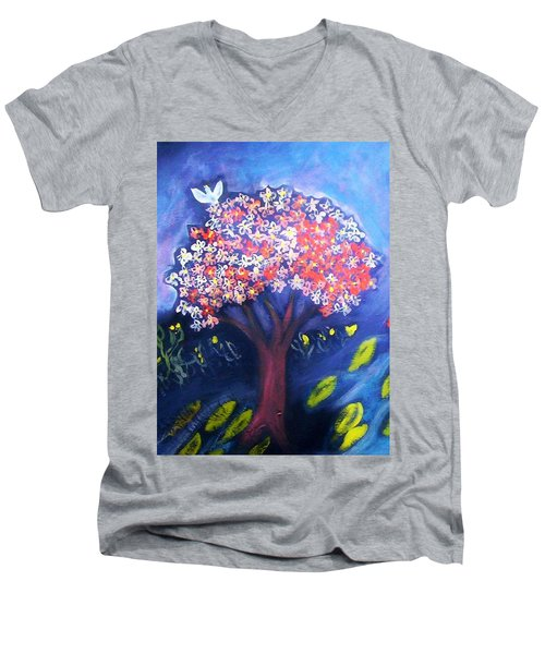 Men's V-Neck T-Shirt featuring the painting Joy by Winsome Gunning