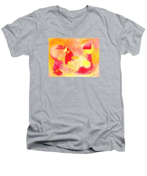 Joyful Abstract Men's V-Neck T-Shirt by Andrew Gillette