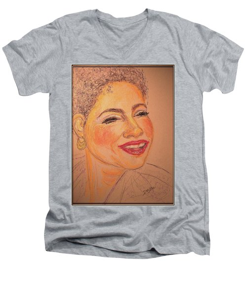 Men's V-Neck T-Shirt featuring the drawing Joyful by Desline Vitto