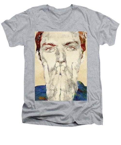 Jude Law Men's V-Neck T-Shirt by Mihaela Pater