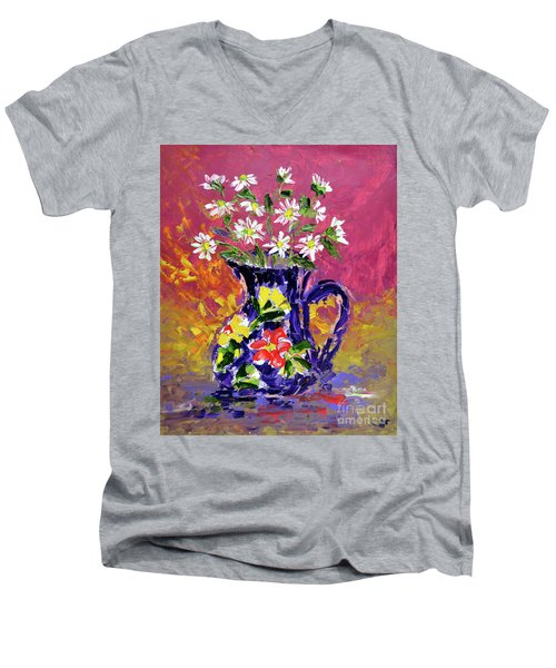 Jug Of Daisies Men's V-Neck T-Shirt