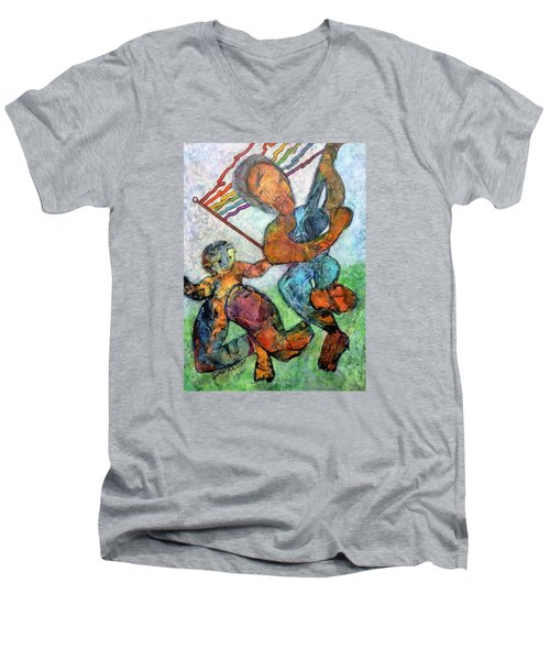 Jump For Joy Men's V-Neck T-Shirt by Jim Whalen