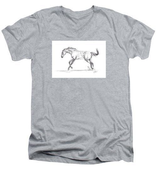 Jumping Around Men's V-Neck T-Shirt by Kate Black