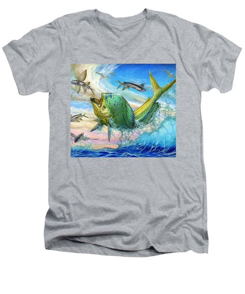 Jumping Mahi Mahi And Flyingfish Men's V-Neck T-Shirt