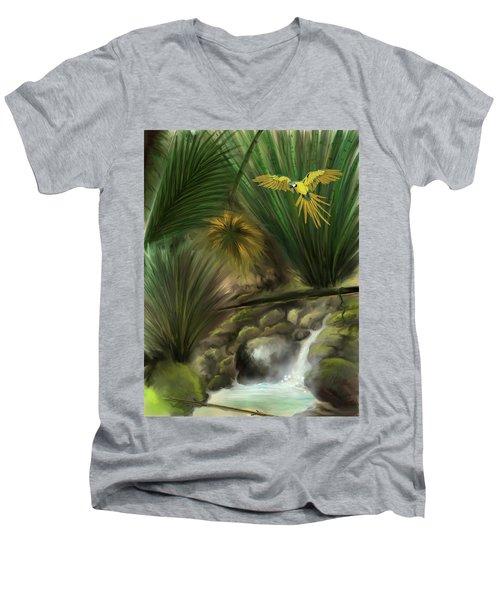 Men's V-Neck T-Shirt featuring the digital art Jungle Parrot by Darren Cannell