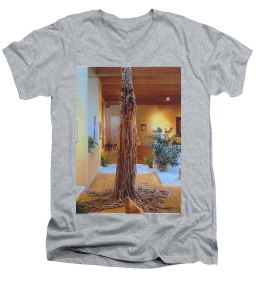 Men's V-Neck T-Shirt featuring the sculpture Jungle Spirit by Bernard Goodman
