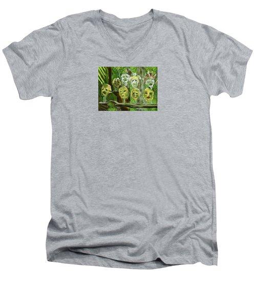 Jungle Spirits Men's V-Neck T-Shirt by Jean Pacheco Ravinski