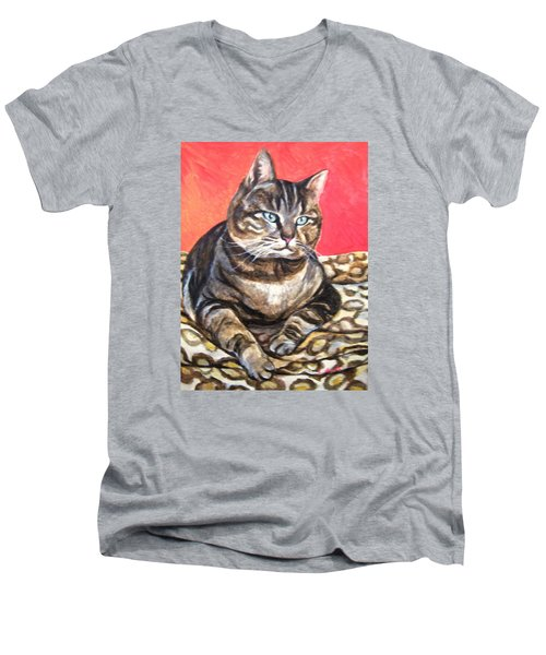 Men's V-Neck T-Shirt featuring the painting Jungle Wannabe by Laura Aceto