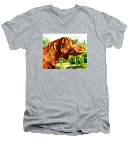 Junior's Hunting Dog Men's V-Neck T-Shirt by Timothy Bulone