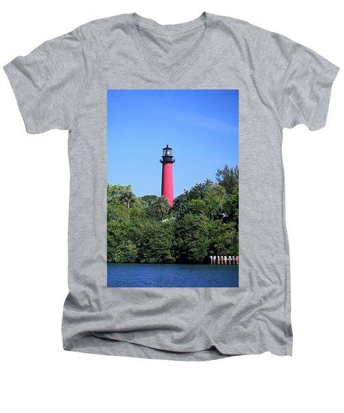 Jupiter Lighthouse Men's V-Neck T-Shirt by Sally Weigand