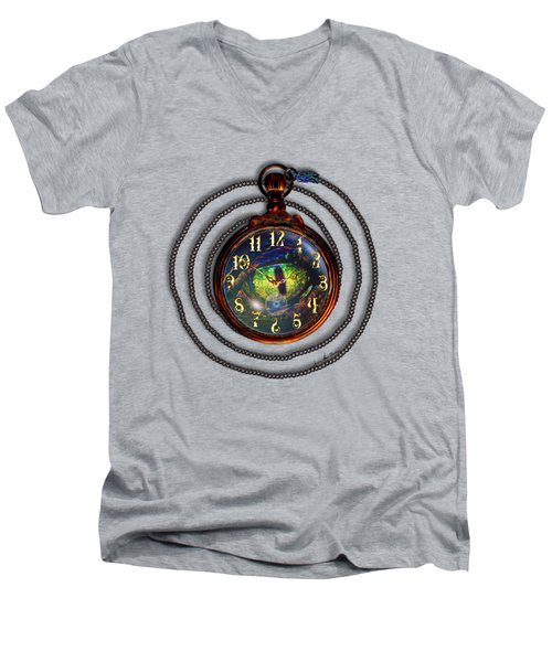Just A Matter Of Time Men's V-Neck T-Shirt by Iowan Stone-Flowers