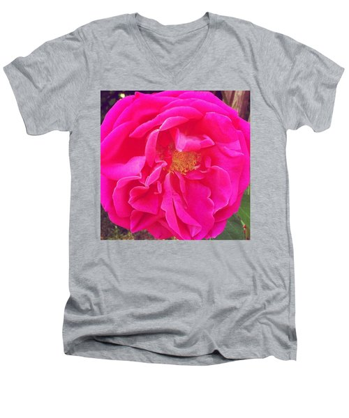 Just A Rose...#floral #flowers #pink Men's V-Neck T-Shirt by Jennifer Beaudet