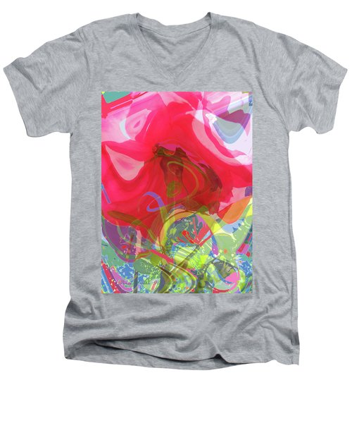 Just A Wild And Crazy Rose - Floral Abstract - Colorful Art Men's V-Neck T-Shirt
