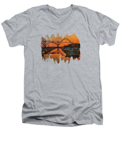 Just After Sunset On Yaquina Bay Men's V-Neck T-Shirt by Thom Zehrfeld