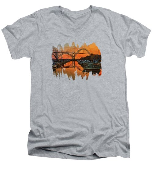 Just After Sunset On Yaquina Bay Men's V-Neck T-Shirt