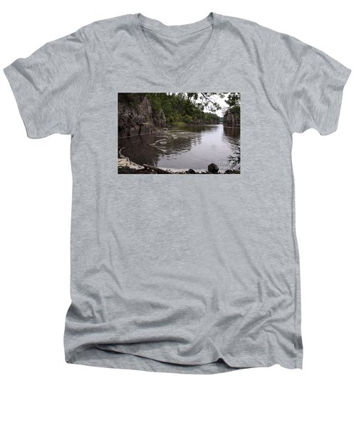 Men's V-Neck T-Shirt featuring the photograph Just Around The Bend by Sandra Updyke