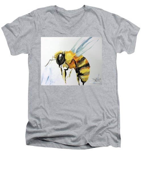 Men's V-Neck T-Shirt featuring the painting Just Beecause by Tom Riggs