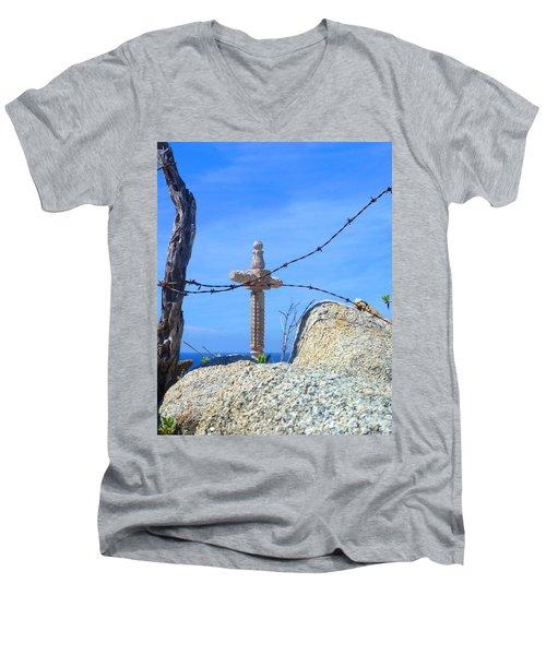 Just Beyond Men's V-Neck T-Shirt by Barbie Corbett-Newmin