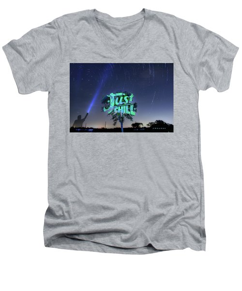 Just Chill Men's V-Neck T-Shirt by Andrew Nourse