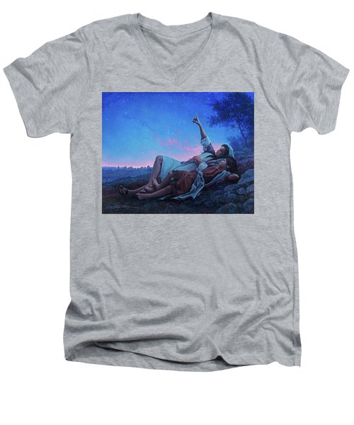 Men's V-Neck T-Shirt featuring the painting Just For A Moment by Greg Olsen