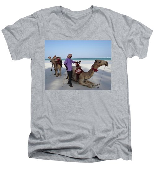 Just Married Camels Kenya Beach 2 Men's V-Neck T-Shirt by Exploramum Exploramum