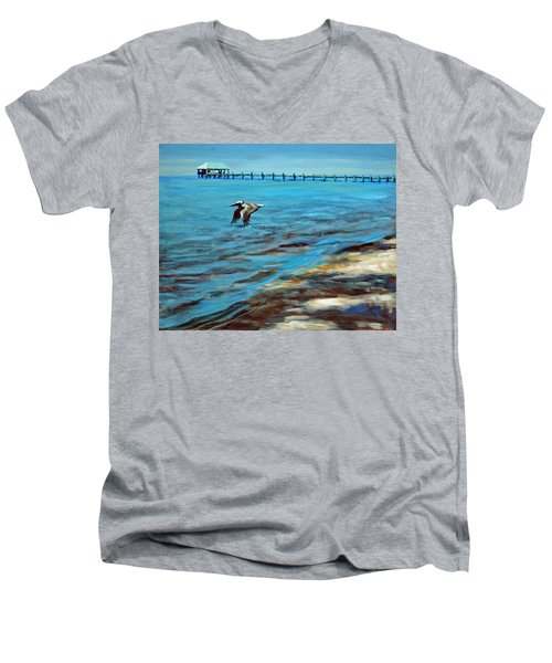 Men's V-Neck T-Shirt featuring the painting Just Passing By by Suzanne McKee