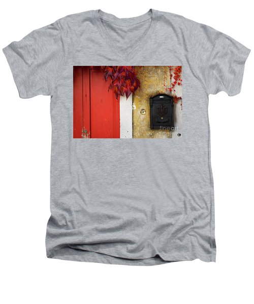 Just Red Men's V-Neck T-Shirt by Yuri Santin