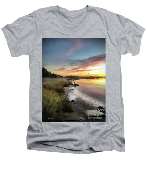 Just The Two Of Us At Sunset Men's V-Neck T-Shirt by Phil Mancuso
