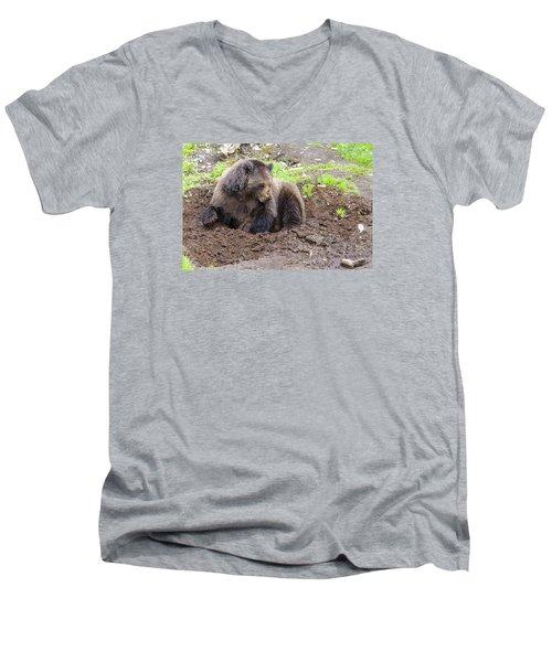 Just Thinkin Men's V-Neck T-Shirt by Harold Piskiel