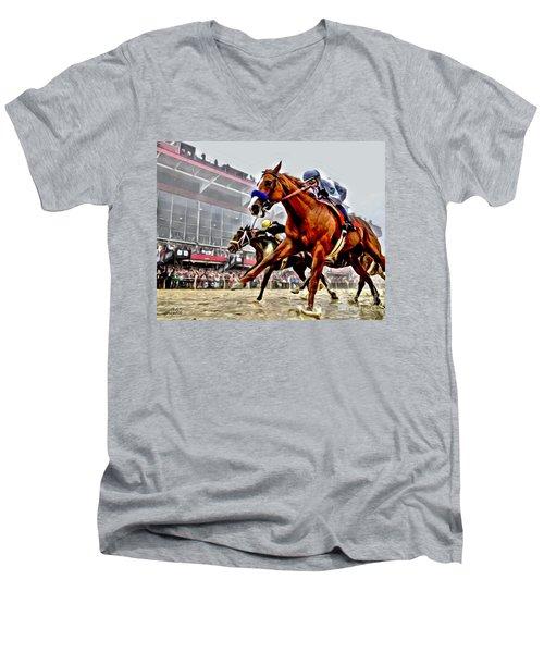 Justify Wins Preakness Men's V-Neck T-Shirt