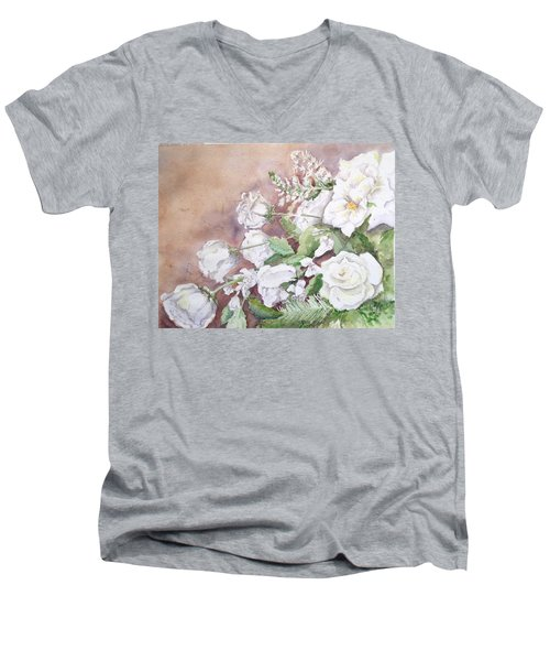 Men's V-Neck T-Shirt featuring the painting Justin's Flowers by Marilyn Zalatan