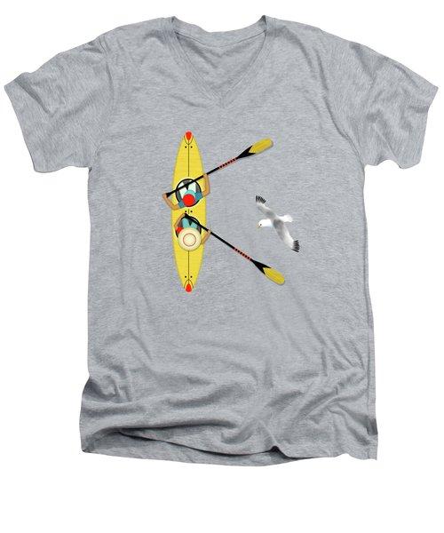 K Is For Kayak And Kittiwake Men's V-Neck T-Shirt by Valerie Drake Lesiak