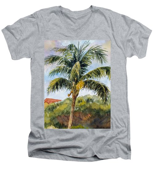 Kaanapali Palm Men's V-Neck T-Shirt by William Reed