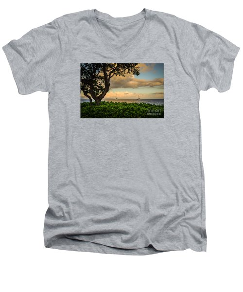 Ka'anapali Plumeria Tree Men's V-Neck T-Shirt by Kelly Wade
