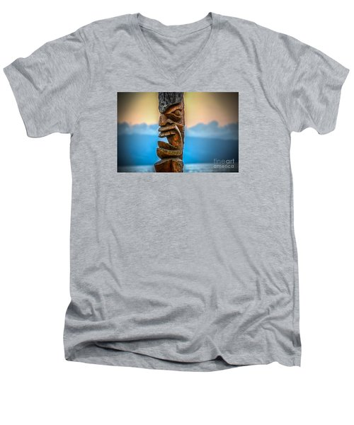 Ka'anapali Tiki Men's V-Neck T-Shirt by Kelly Wade