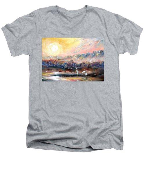 Men's V-Neck T-Shirt featuring the painting Kakadu by Ryn Shell