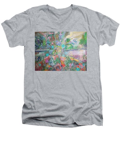 Kaleidoscope Fairies Too Men's V-Neck T-Shirt by Judith Desrosiers