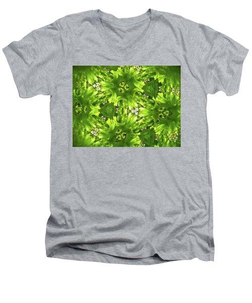 Kaleidoscope Flower Men's V-Neck T-Shirt by Julia Wilcox