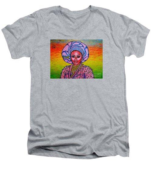Men's V-Neck T-Shirt featuring the painting Kalimba De Luna 2 by Viktor Lazarev