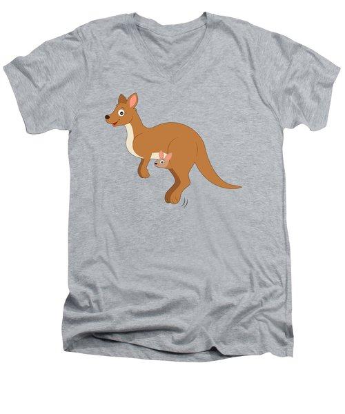 Mamma Kangaroo And Joey Men's V-Neck T-Shirt by A