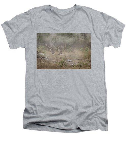 Kangaroos In The Mist Men's V-Neck T-Shirt by Az Jackson