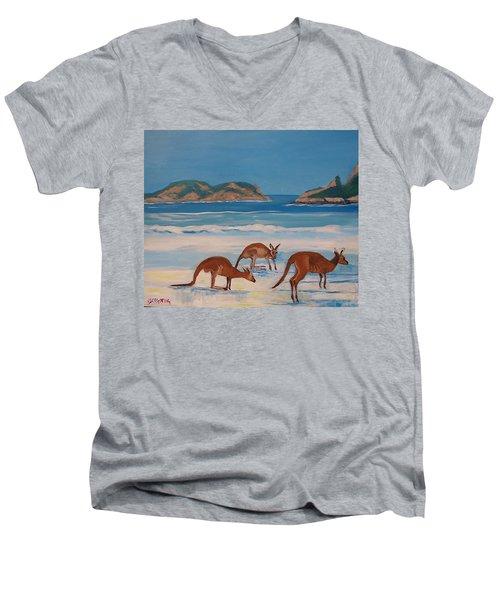 Kangaroos On The Beach Men's V-Neck T-Shirt