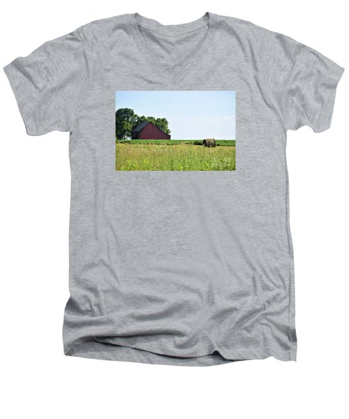 Men's V-Neck T-Shirt featuring the photograph Kansas Barn by Mark McReynolds