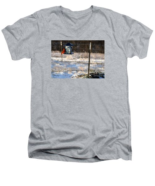 Men's V-Neck T-Shirt featuring the photograph Kansas Cardinal At The Feeder by Mark McReynolds