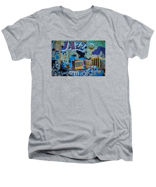 Kansas City Jazz Mural Men's V-Neck T-Shirt