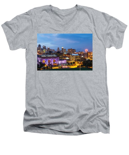 Kansas City Night Sky Men's V-Neck T-Shirt