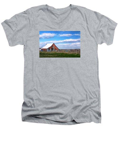 Kansas Farm Men's V-Neck T-Shirt by Joan Bertucci