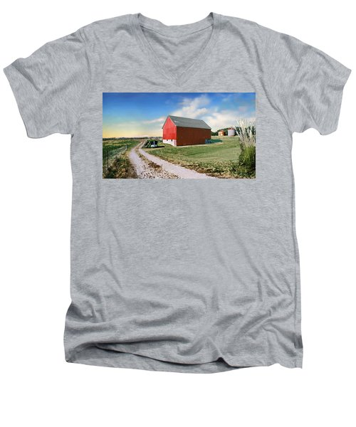Men's V-Neck T-Shirt featuring the photograph Kansas Landscape II by Steve Karol