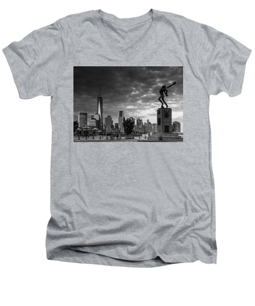 Men's V-Neck T-Shirt featuring the photograph Katyn New World Trade Center In New York by Ranjay Mitra