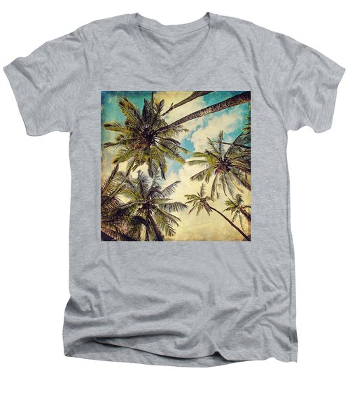Kauai Island Palms - Blue Hawaii Photography Men's V-Neck T-Shirt
